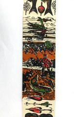 Vintage Rooster Square End Neck Tie 1950s Midcentury Fishing Novelty Print