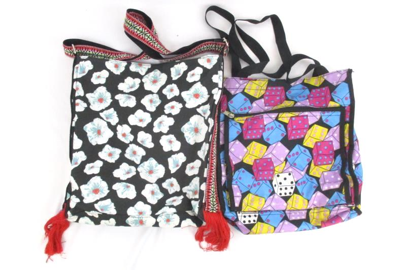 Lot of 3 Reusable Shopping Bags Dice Floral Women's Purses Totes Nylon Canvas