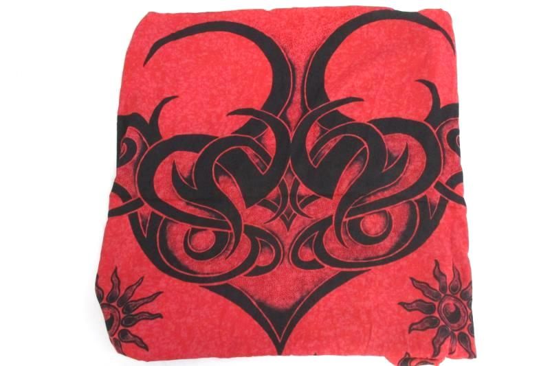 Ucho Bali Cool Women's Cool Scarf Wrap Swim Cover Red Black Fringe Edge