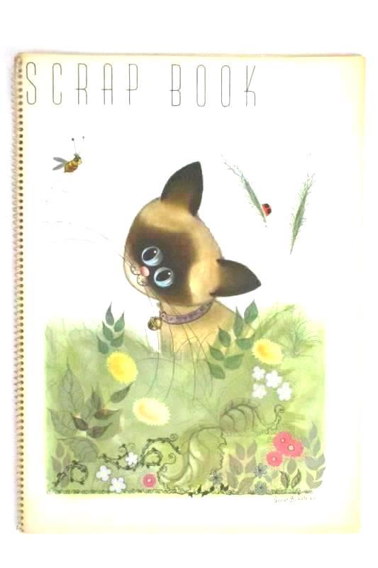 Lot of 2 Vintage George Buckett Scrapbooks 1963 Lion And Siamese Cat Spiral