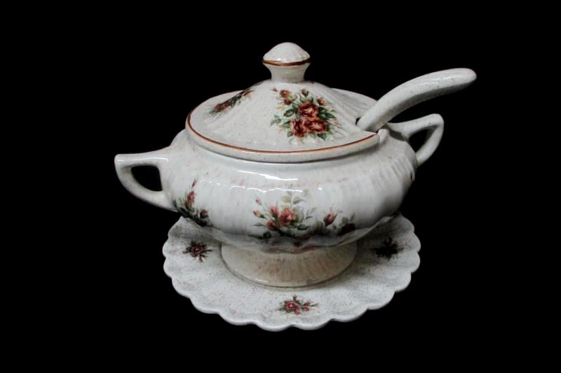 Vintage Soup Tureen White Brown Speckled Pink Brown Roses Cover Ladle Underplate