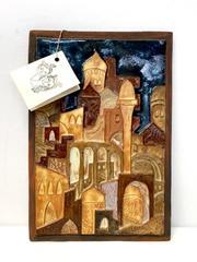 Moshe Sarad Ceramic Art Tile 10in x 7in Signed Jerusalem Israel Original Tag