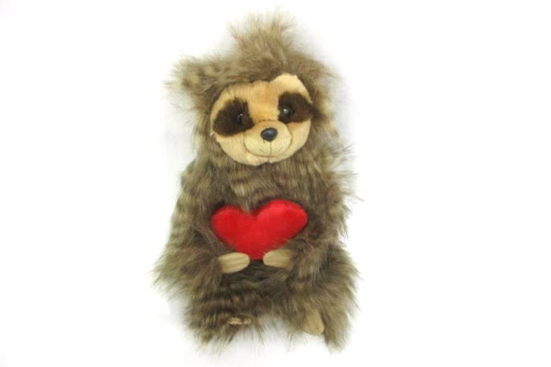 2017 Aurora Sloth With Heart Plush Toy 13 Inch Brown