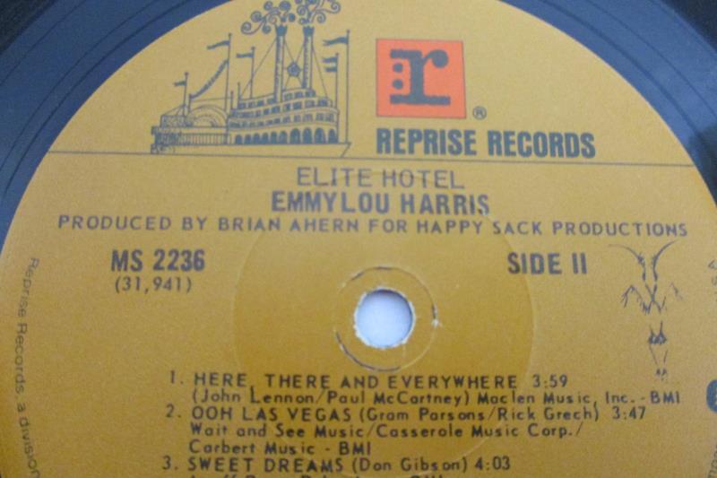 Lot of 2 Emmylou Harris Vinyl LP Records Cimarron 1981 Elite Hotel 1975 12 Inch