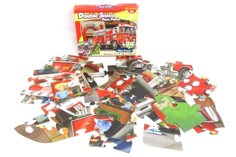 Hurricane Double Sided Fire Truck Floor Puzzle 34 Pieces Complete