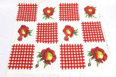 White Linen Tablecloth With Red Floral Check Design 55 x 64
