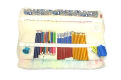 Damero Colored Pencil Roll Wrap For 100 Pencils Gray Dog Print