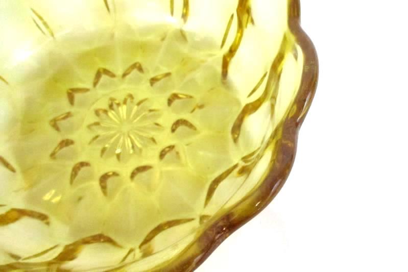 Lot 2 Anchor Hocking Fairfield Amber Salad Dessert Bowls Scalloped Gold Yellow