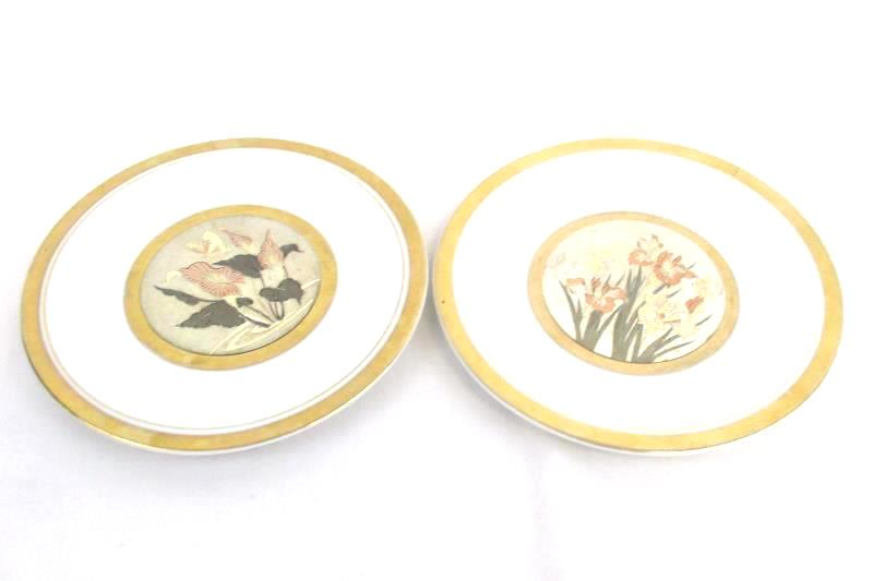Lot of 2 Art of Chokin 24K Gold Trim Butterfly Plate Saucer 6.5 Inch Round Japan