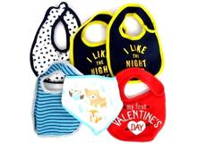 Lot of 6 Infant Baby Boy's Feeding Bibs Drool Carters Cribmates Easy Fasten
