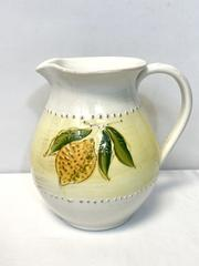 Crate and Barrel Ceramic Lemon Pitcher 2QT Serving Water Lemonade Made in Italy