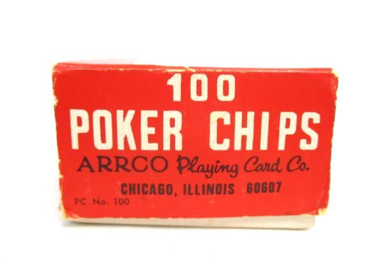Vintage Box Of 107 Arrco Playing Card Company Interlocking Poker Chips Plastic