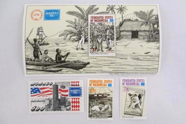 1986 Ameripex '86 FDC/FDI and Stamp Sheet Federated States of Monaco