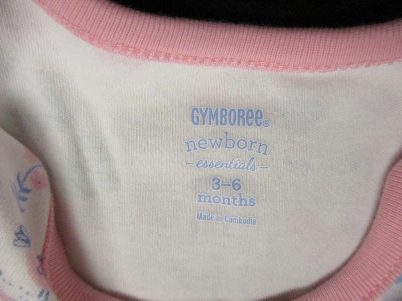 Gymboree Newborn Essentials 3 to 6 Months Pink Striped Farm Animals Coverall