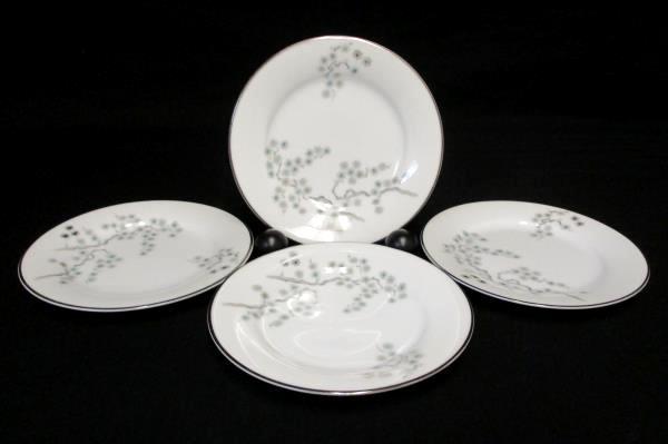 """Set of 4 Noritake 'Pineville' 5854 Bread Plates 6.25"""" Green Pines Platinum Rare"""