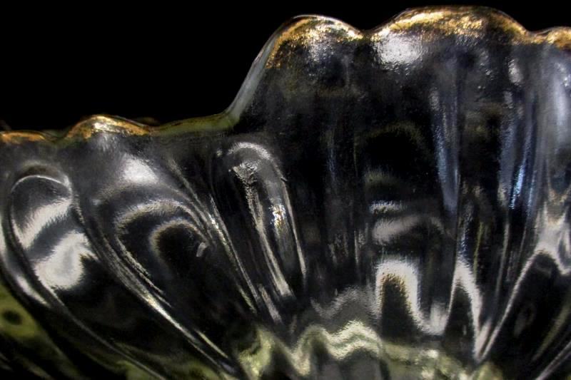 Vintage Jeannette Gondola Glass Centerpiece Bowl Gold Trim