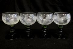 Set of 4 Vintage Roemer Style White Wine Glasses Green Stem Etched Grapes