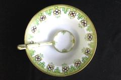 Vintage Nippon Soup Bowl With Spoon Hand Painted Porcelain Gold Trim