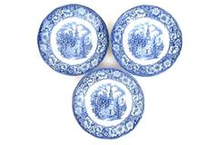 Lot of 3 Liberty Blue Historic Colonial Scenes Old North Church England Saucers