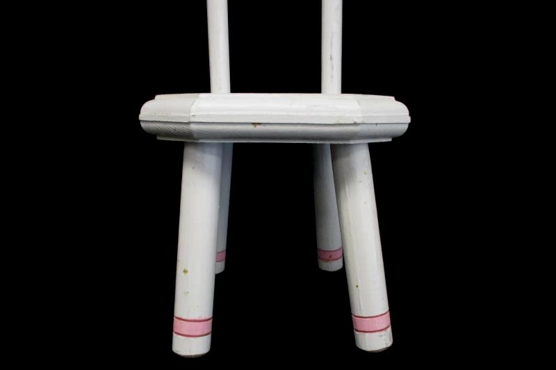 Antique Children's Wooden Doll Chair Painted White Pink High Back 43 Inch Tall