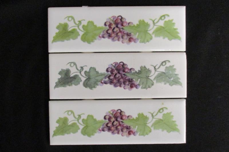 Lot 3 Italian Listello White Grape Ceramic Tiles 6 X 2 Unused Made In Mexico