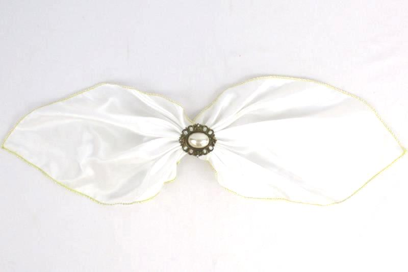 Lot of 3 Girl's Hair Ribbon Bow Clips Brooch Black White Blue Gold Trim