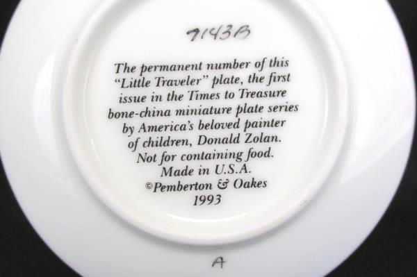 "Pemberton Oakes 1993 Zolan ""Little Traveler"" Girl w/ Suitcases Miniature Plate"