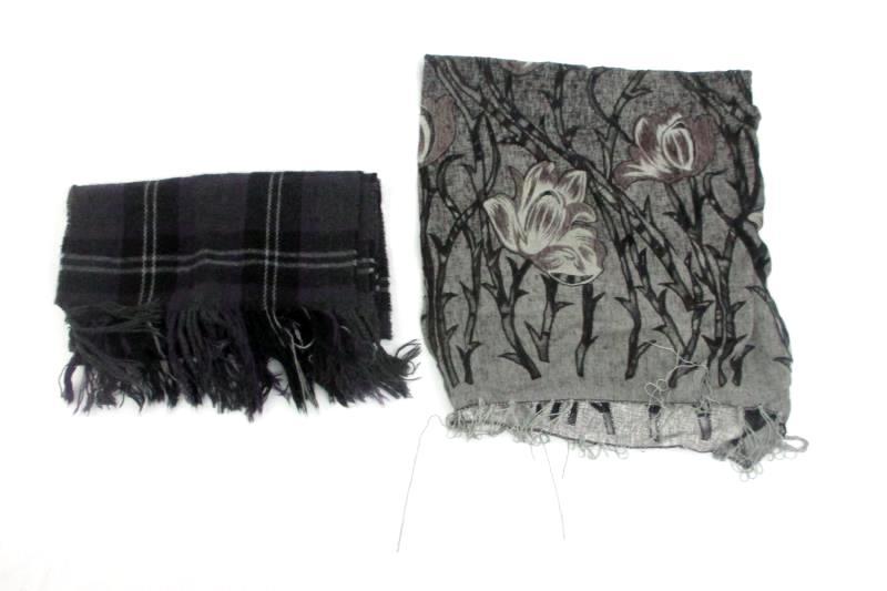 2 Vintage Women's Scarves Shawl Purple Gray White black