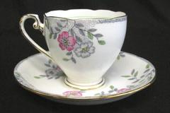 ABJ Grafton China Melville Tea Cup and Saucer Floral Gold Trim England Made