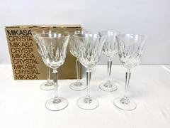 Set of 6 Mikasa Lead Crystal Water Wine Goblets Interlude TS110 Original Box