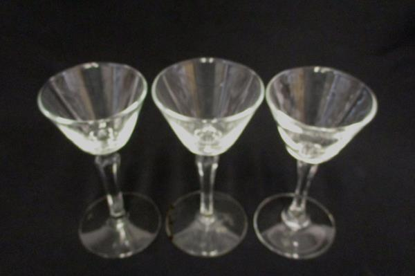 Lot of 3 Aperitif Glasses Clear Footed Wedding Party Replacement