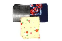 Lot of 3 Patterned Handkerchiefs White Navy Blue Black and Beige