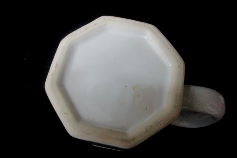 Vintage Octagonal Lidded Ceramic Coffee Or Teapot 4 Mugs White Floral Pattern