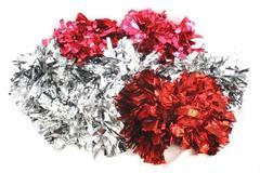 Lot of 7 GT Sport Cheerleading Dance Parade Handheld Pom Pom Metallic Foil