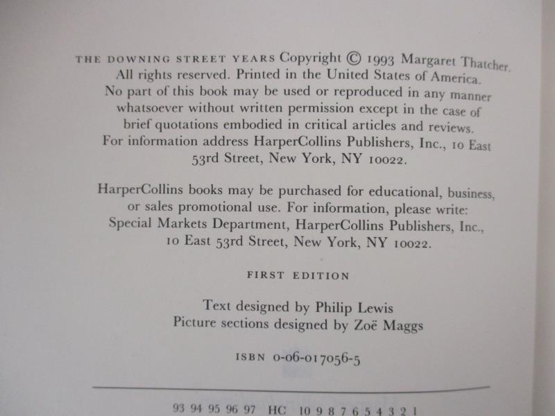 The Downing Street Years by Margaret Thatcher 1993 HC DJ Harper Collins