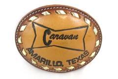 Texas Western Vintage Leather Belt Buckle Caravan Amarillo Texas