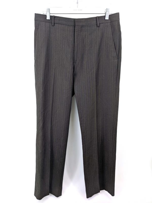 J. Crew 100% Wool Career Pants Brown Pin Stripe Men's Sz 33/30
