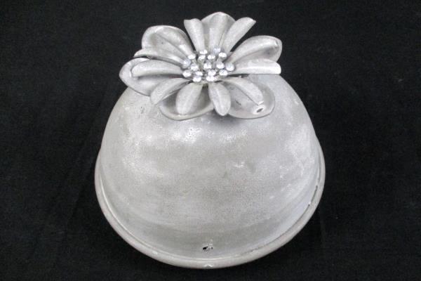 "Clear Glass Jar Vase Ribbed With Metal Top Flower Rhinestone Embellished 10"""