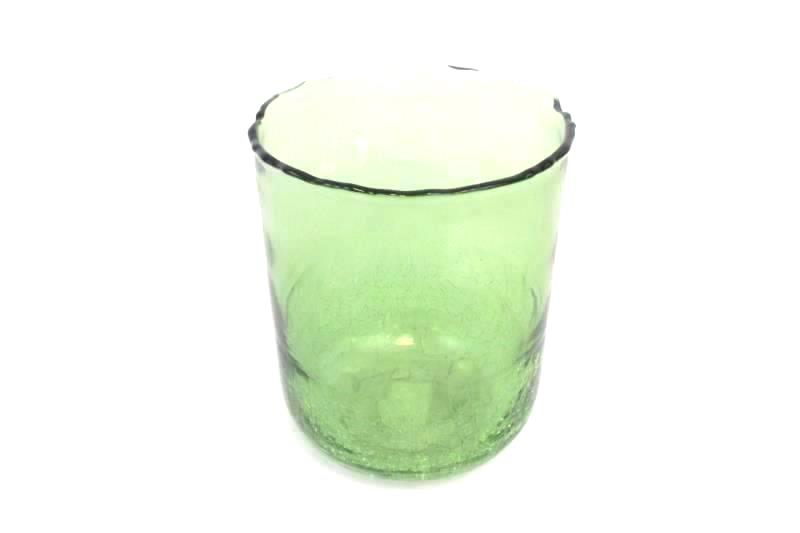 Large Round Green Crackled Glass Vase 7.5 x 5.75 Inches