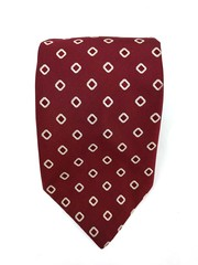 Vintage FRANK BROTHERS 100% Silk Neck Tie Burgundy Squares Woven Pattern