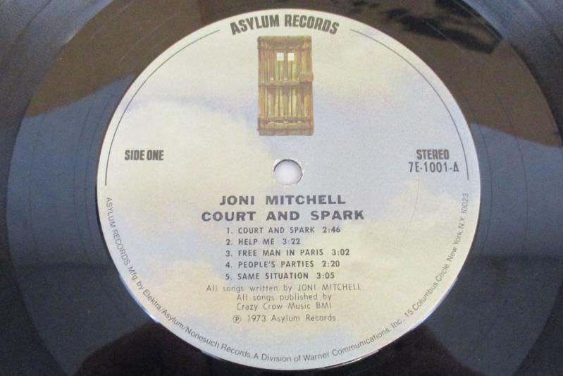 Joni Mitchell Court and Spark Vinyl LP Record 1973 Asylum 7E1001 Free Man Paris