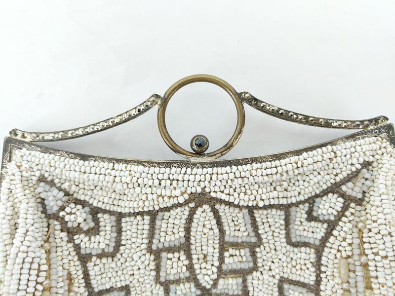 Vintage Art Deco Belt Purse Clutch Beaded White Metallic