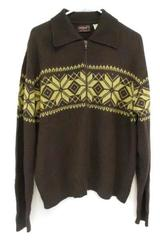 KINGSPORT Men's Vintage Cardigan Sweater Zip Front Nordic Fair Isle Brown XL