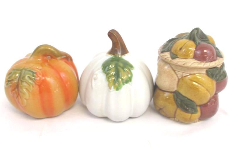 Lot of 3 Ceramic Decorative Orange White Pumpkin Lidded Candy Dish Fruit Design