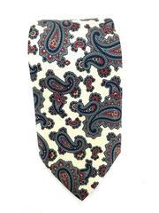 Giacomo Italia 100% Silk Necktie Ivory Red Blue Paisley Print