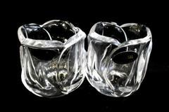 Set of 2 DePlomb 24% Lead Crystal Votive Candle Holders Tulip Shaped