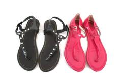 Lot of 2 Girl's Size 4M Sandals Candies Black Studded Jessica Simpson Pink