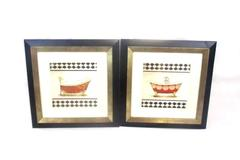Lot of 2 Bathroom Vintage Bath Tub Framed Pictures Red Yellow Black White Decor