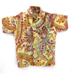 Hand Made Doll Size Hawaiian Print Shirt Yellow Paisley Print Button Up Unique
