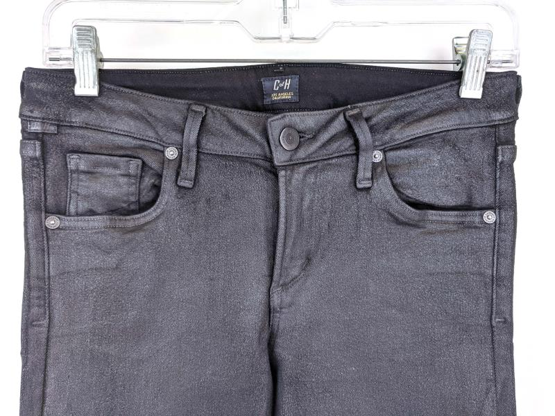 """CITIZENS OF HUMANITY """"Racer"""" Coated Skinny Jeans Black Jegging Stretch Womens 28"""